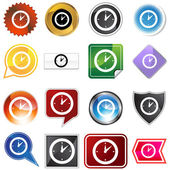 Clock Timer Variety Icon Set — Vector de stock