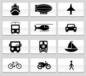 Transportation Buttons - Black and White — Stock Vector