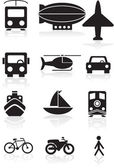 Transportation Icons - black and white — Stock Vector