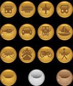 Botones de transporte - oro redondo — Vector de stock