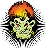 Flaming Haired Troll — Stock Vector