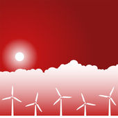 Day Scene - Wind Turbines — Vector de stock