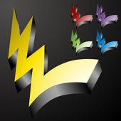 Three Dimensional Checkmark Lightning Bolts — Stock Vector