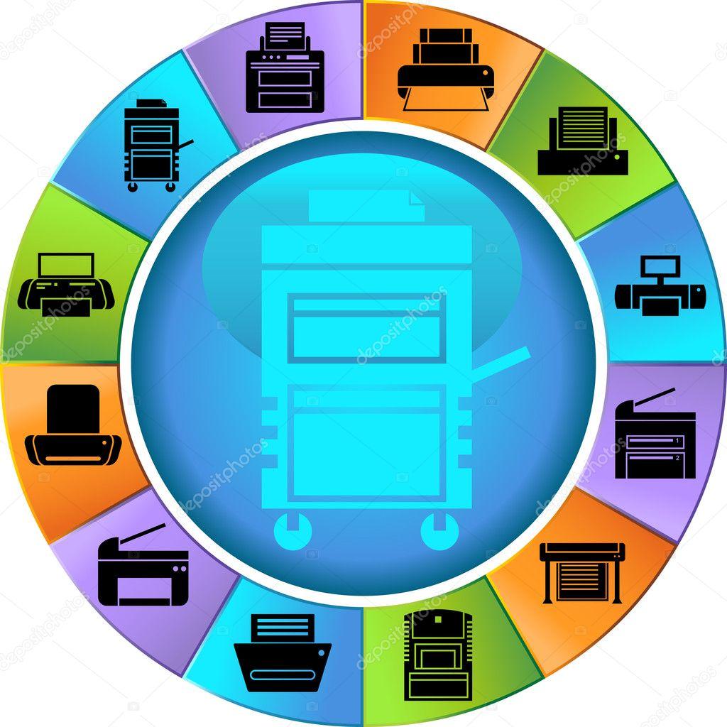 Color Printer Icon A set of printer icons.
