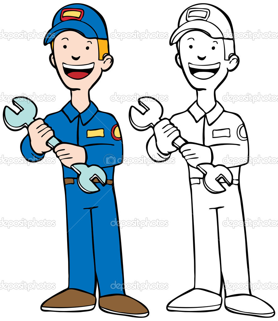 Professional repairman cartoon character with tools of the trade.  Vektorgrafik #3990368