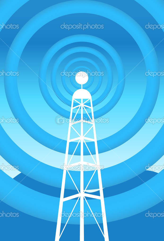 Image of a communications tower with blue background.  Stock Vector #3990496