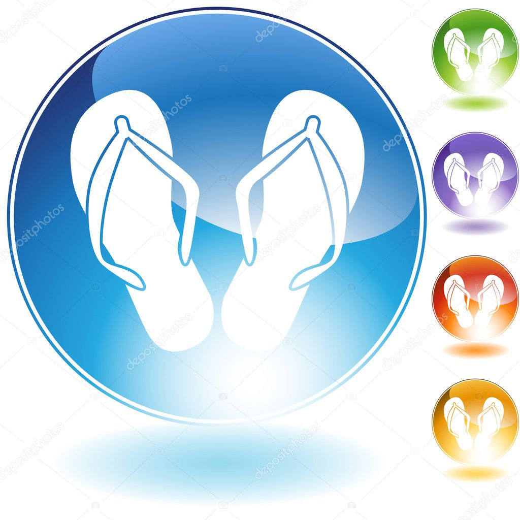 An image of a pair of flip flops.  Stock Vector #3990550
