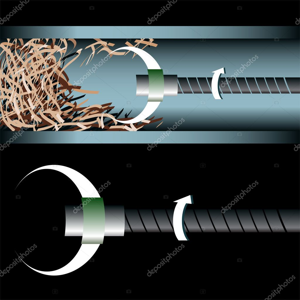 3D image of a plumbing device cleaning an underground pipe. — Stock Vector #3990801