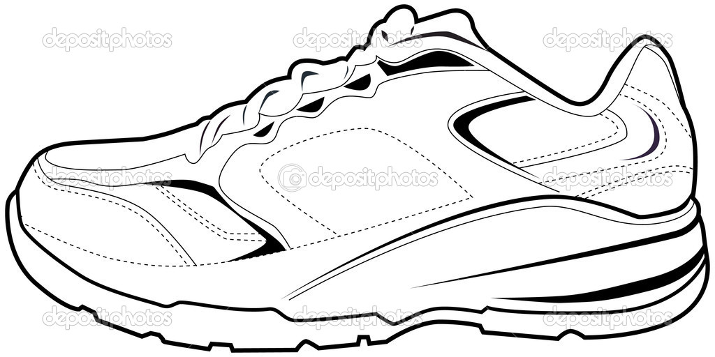 Free coloring pages of a tennis shoe for Running shoe coloring page