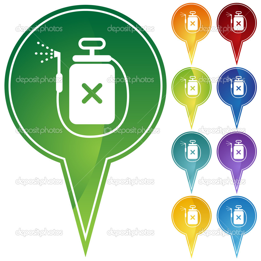 Set of 10 web buttons - poison spray device. — Stock Vector #3990885