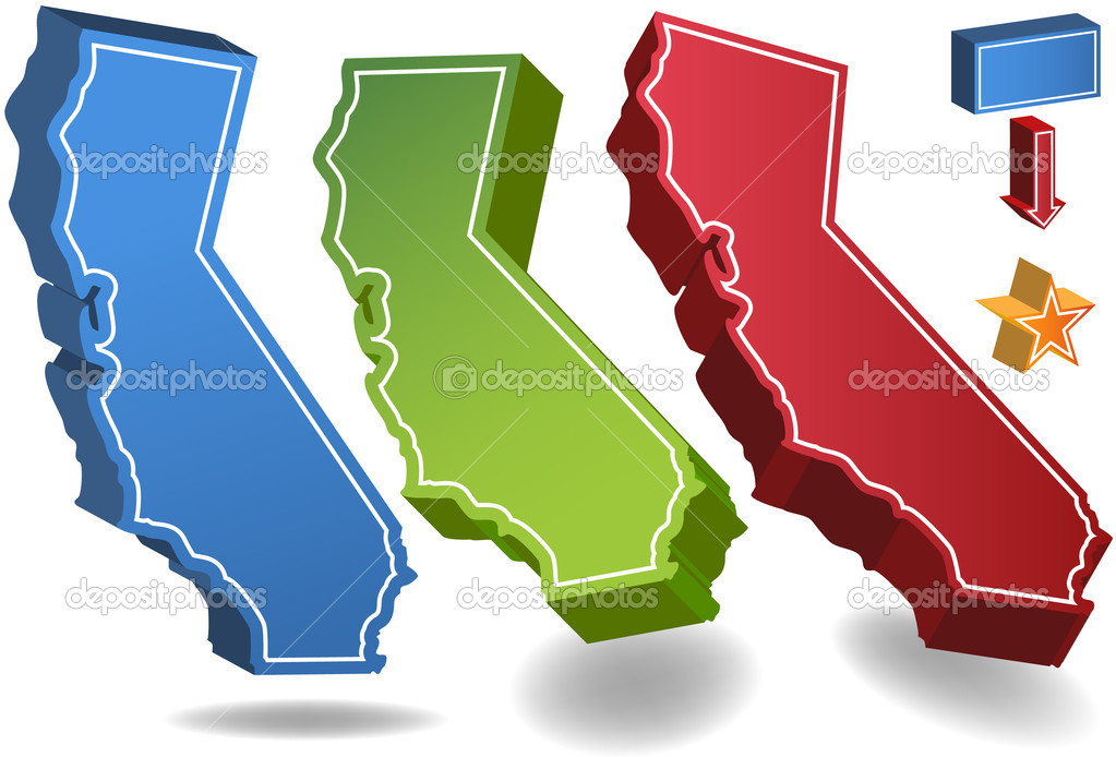 Set of 3D images of the State of California with location icons. — Stock Vector #3990963