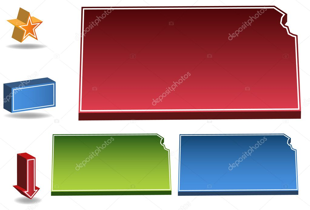 Set of 3D images of the State of Kansas with icons. — Stock Vector #3990977