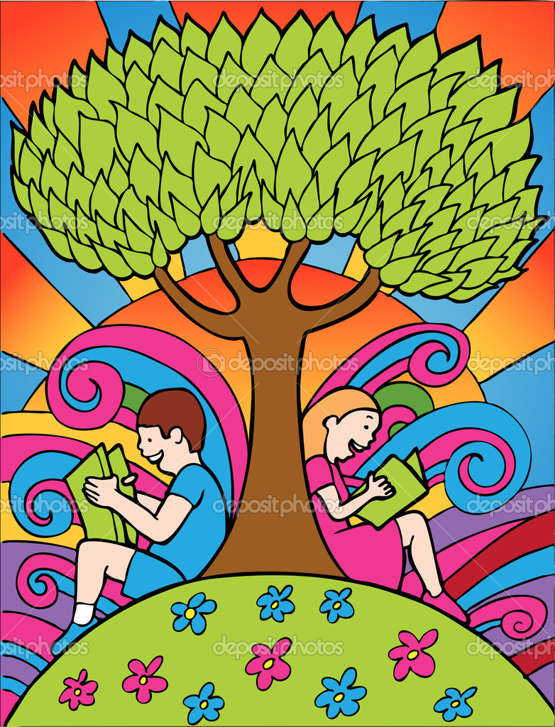 Children reading books under a tree. — Stock Vector #3991144