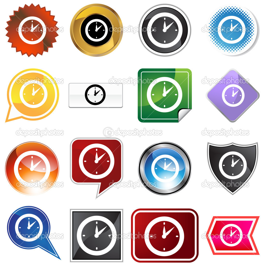 Clock timer icon set isolated on a white background. — Stock Vector #3993871