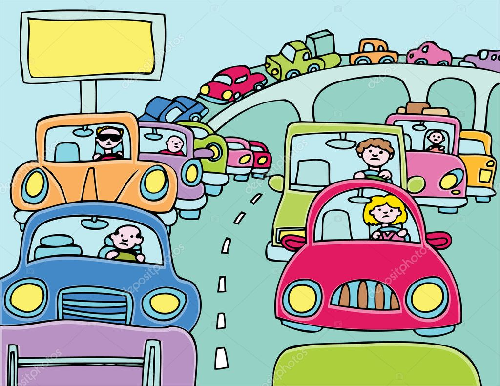 Cars stuck in a traffic jam.  Stock Vector #3993921