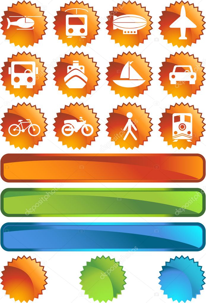 Set of 12 transportation web buttons - label style. — Stock Vector #3993955