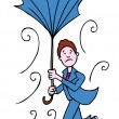 Stock Vector: Broken UmbrellMan