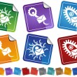 Stock Vector: Virus Sticker Icons