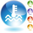 Water Temperature Crystal Icon - Stock Vector