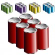 Stock Vector: Six Pack Cans