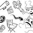 Movie Item Doodles — Stock Vector