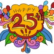 Happy 25th Design Element — Vector de stock #4006146