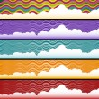 Wave with Clouds Background Set — Stockvektor