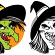 Stock Vector: Witch face collage