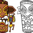 Witch Doctor with Totem Pole - Stock Vector