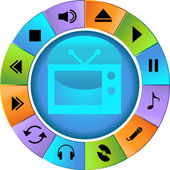 Multimedia Buttons - Wheel — Stock Vector