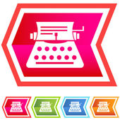 Neon Chevron Icon Set: Typewriter — Stock Vector