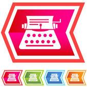 Neon Chevron Icon Set: Typewriter — Stock Vector