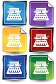 3D Sticker Set - Typewriter — Stock Vector