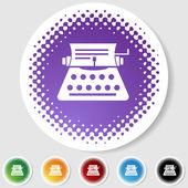 Half Tone Round Button Set - Typewriter — Stock Vector
