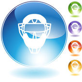 Umpire Mask Helmet Crystal Icon — Stock Vector