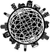 Building Globe Icon Set — Stock Vector