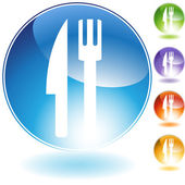 Fork Knife Crystal Icon — Stock Vector