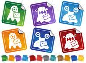 Virus Sticker Icons — Stock Vector