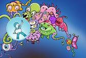 Cyberspace Virus Attack — Stock Vector