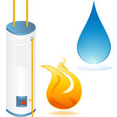 Water heater with element icons — Stock Vector