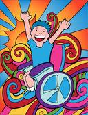 Wheelchair Adventurer — Stock Vector