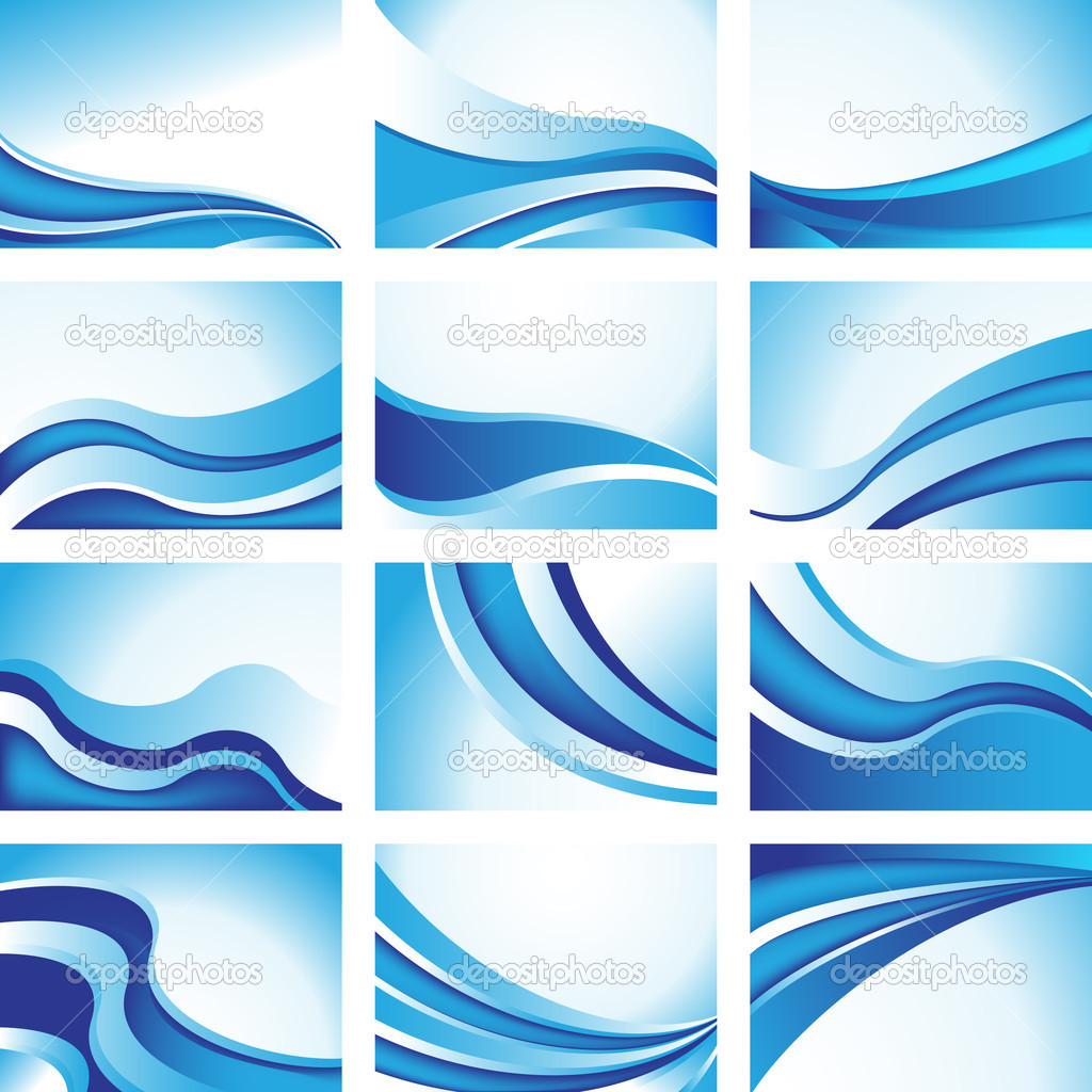Set of 12 blue wave icon images. — Imagen vectorial #4009813