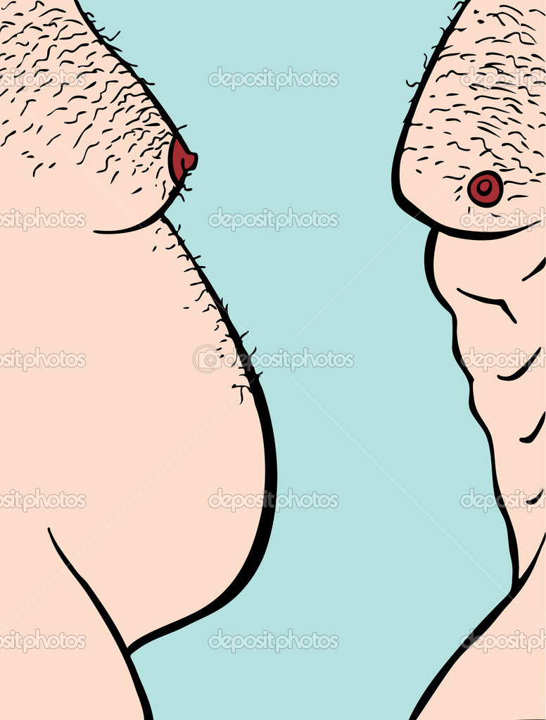 Profile view of two male torsos fat and muscular. — Stock Vector #4009868