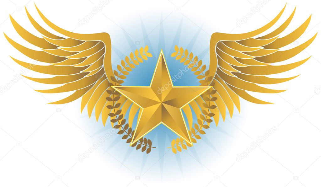 3D golden wing with laurel wreath and star.  Stock Vector #4009957