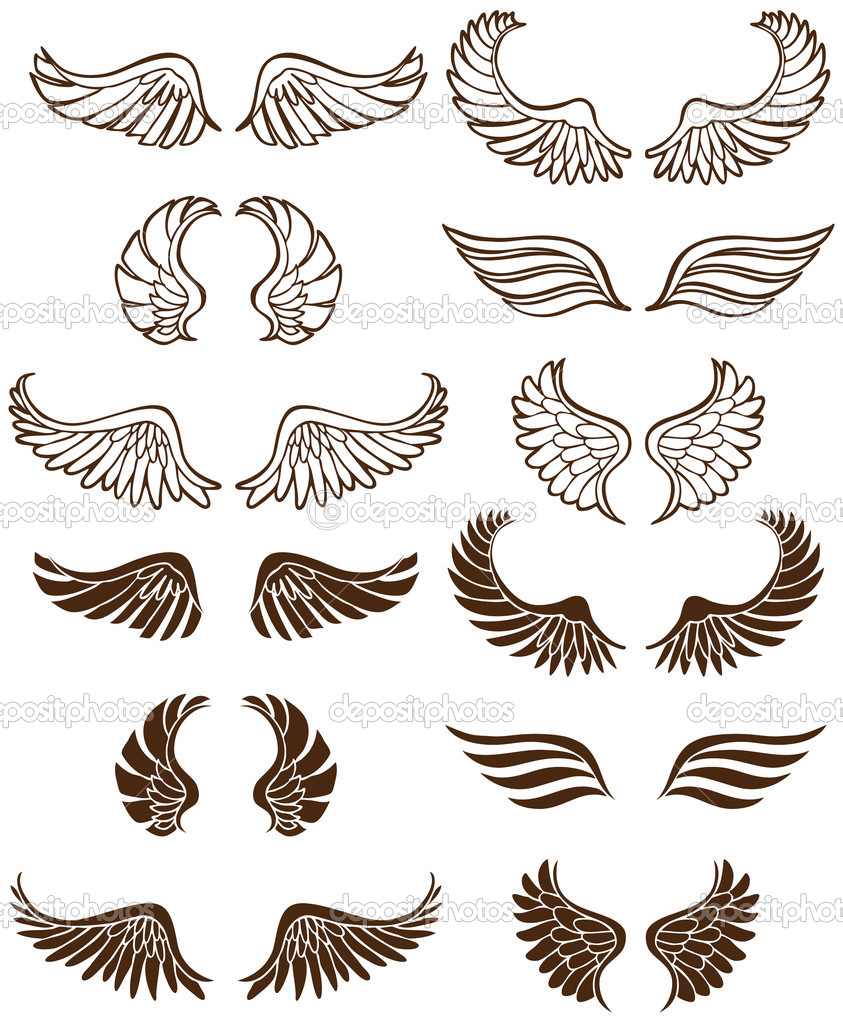 Set of 12 sets of angel wings. — Stock Vector #4009961