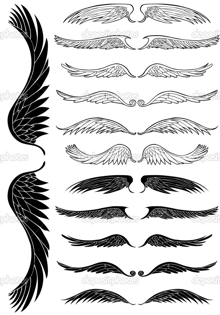 Set of 12 sets of angel wings. — Stock Vector #4009964