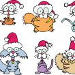 Vector de stock : Cartoon Cats - Christmas
