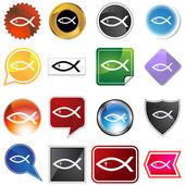 Varios botones - pescado religiosa — Vector de stock
