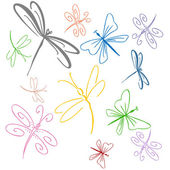 Dragonfly Set — Stock Vector