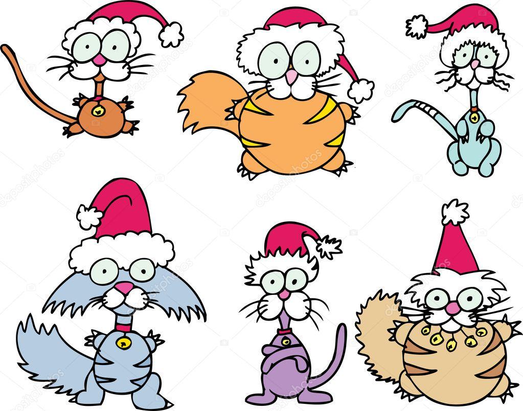 Conjunto de 6 gatos de Navidad dibujos animados loca\u2014 Vector de cteconsulting